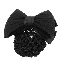 High Quality New Black Ruched Bowknot Bow Snood Net Bun Cover Barrette Hair Clip For Woman(China)