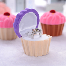 Excellent Quality Velvet Durable Present Gift Box Case For Bracelet Bangle Ring Jewelry Watch Box Cute Cake Cup Shape(China)