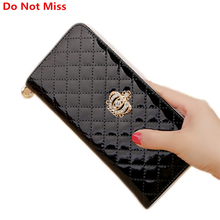 Do Not Miss design Crown Clutch  walelt women fashion large capacity zipper long leather hand bag Card holder phone large purse