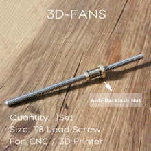 1Set THSL-300-8D 100/200/300/350/400/500mm Lead Screw Trapezoidal +T8 Anti Backlash Spring Loaded Nut For CNC & 3D Printer