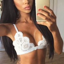 Buy Sexy Lingerie Lace Bralette Floral Bralet Tops Wireless Seamless Bra Push Bustier Crop Top Red White Black Brassiere Femme