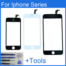 High Quality front glass lens + Touch Screen digitizer replacement for iPhone 4 4s 5 5s , 6 6s plus balck white with repair tool