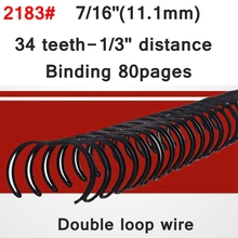 "100PCS Deli 2183 A4 Size 7/16""(11.1mm) Nylon coated double loop wire 34 teeth 1/3"" distance notebook double binding wires(China)"