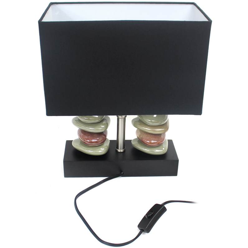 Elegant Designs Rectangular Dual Stacked Stone Ceramic Table Lamp with Black Shade (1)