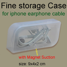earphone small box delicate fine storage case with magnetic suction transparent gaine  little bag for iphone MP3 cable