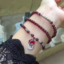 Buy Natural Garnet Bracelet Women Jewelry Fish tail Fox 925 Sterling silver Bracelet Certificate January Bracelets Birthday gife for $30.59 in AliExpress store