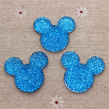 50pcs/lot 31*34mm Cute Medium Blue Mickey Mouse Head Resin Cabochon Flatback for DIY Crafts Scrapbooking