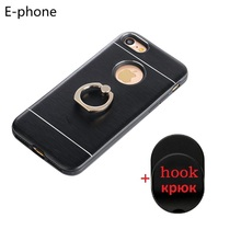 Hybrid Case for Iphone 6 6s 7 Plus Hard Back Silicone Edge 360 Ring Stands Holder Support Metal Finger Hook Luxury Fashion New