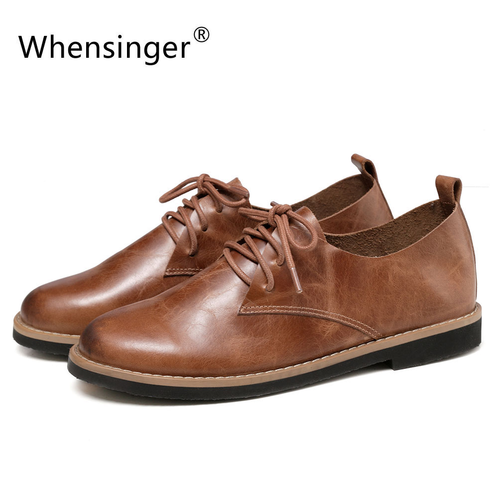 Whensinger - 2017 Spring New Arrival Women Genuine Leather Shoes Lace-Up Flats 177<br><br>Aliexpress