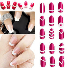 18Pc/Set Random Type!! Fashion DIY French Manicure Form Nail Art Tips Tape Stickers Guide Stencil Decoration