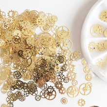 2017 New 1 Box Ultra-thin Punk Style Studs 3D Nail Art Decorations Time Wheel DIY Nail Suplies Gold Steam Machine Gear NP322(China)