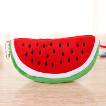 Cute Fruit Kawaii Watermelon Pencil Case Plush Large Capacity Pencil Bag Cosmetics Case For Kids Gift School Suppli Stationery