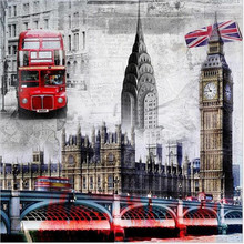 2017 DIY Diamond Paintings Needlework Tower Bridge&Bus London Scenery Mosaic Picture Pattern Full Rhinestone Cross Stitch