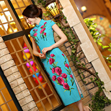 2016 Fashiong Long Modern Qipao Dress Female Daily Green Cheongsam Dress Chinese Qi Pao S,M,L,XL,XXL Free Shipping