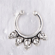 Fashion Fake Septum Medical Skull Nose Ring Studs Piercing Silver Crystal Indian Body Clip Hoop For Women Girls Jewelry Gift