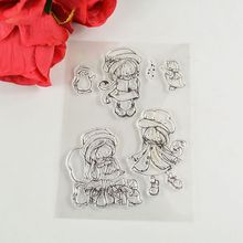 Coolhoo 1pc girl TPR  clear Transparent Stamp DIY Scrapbooking/Card Making/ Decoration Supplies