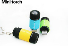 1Pc Portable Mini Keychain Pocket Torch USB Rechargeable Light Flashlight Lamp 0.5W 25Lm Multicolor Mini-Torch