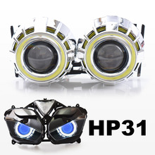 KT Headlight Suitable for Yamaha YZF R3 2015+ LED Angel Eye Blue Demon Eye Motorcycle HID Bi-xenon Projector Lens