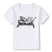 Boy and Girl Print Heavy Metal Rock metallica T-shirt Children harajuku Short sleeve T shirts Kids Tops Tee Baby Clothes