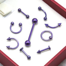 9pcs purple Anodized Stainless Steel Captive Eyebrow Lip Nose Septum Ear Ring Tongue Barbell Tragus Piercing Body Jewelry