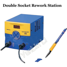 Double Socket Welding Machine 140W 220V Rework Station Dual Port Soldering Station with 2027 Welded Iron Handle FM-203