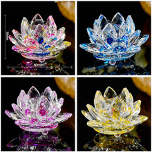 Colorful Quartz Crystal Lotus Flower Crafts Home Party Decor Ornaments Gifts Glass Fengshui Paperweight Souvenir Figurines