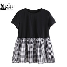 SheIn T shirts Women 2017 Summer Gingham Ruffle Trim Mixed Media Babydoll Tee Black and White Crew Neck Short Sleeve T-Shirt