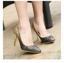 2016 women pumps famous golden sliver glitter high heels comfortable high quality women party shoes office heels ALF146