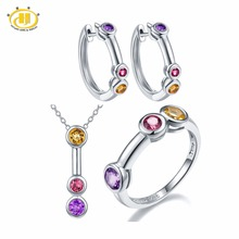 Hutang Natural Gemstone Amethyst Rhodolite Garnet Citrine Solid 925 Sterling Silver Fine Bridal Jewelry Sets For Gift 2017 NEW