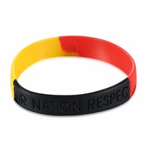 Love Your Nation Respect The Others Red Yellow Black Rubber Bracelet Wristband Cuff Bangle Promotion Gifts