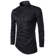 2017 Fashion Mens Shirt Nightclubs Style Oblique Hem Camisa Social Masculina Men Slim Fit Sexy Club Wearing Chemise Homme M-3XL(China)