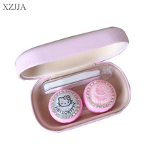 XZJJA Cute Women Contact Lenses Storage Box Cartoon Pink Contact lens Box Eyes Care Kit Holder Travel Washer Cleaner Container(China)