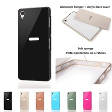 Luxury Aluminum CASE For Sony Xperia Z3 Metal frame + Hard plastic back cover For SONY Z3 D6603 D6633 mobile phone shell