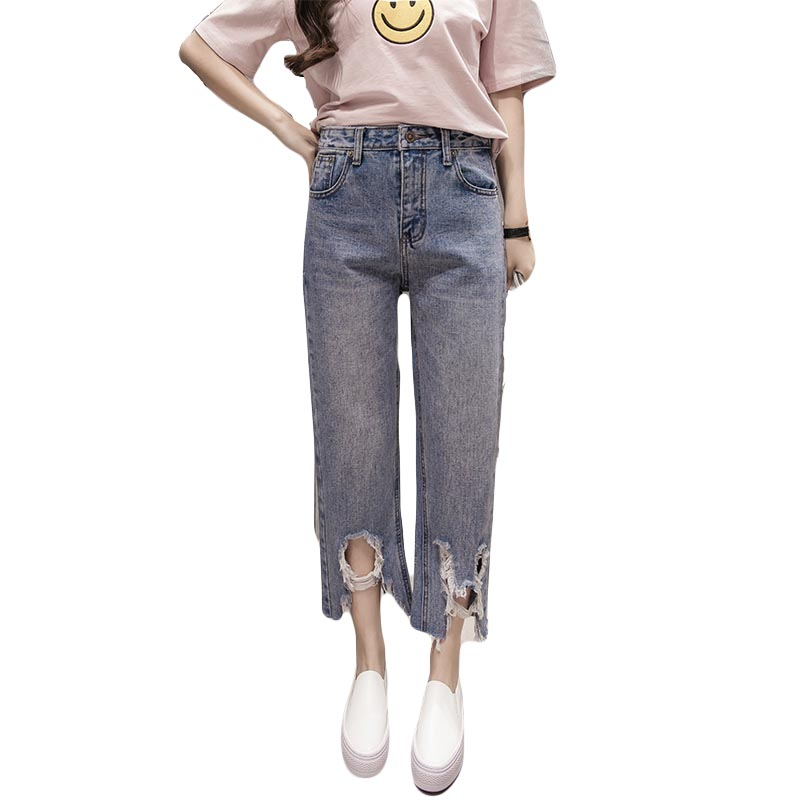 2017 Woman Jeans Light blue High Waist straight Jeans  Nine minutes of pants  For Women Irregular Hole Sexy Jeans FemmeОдежда и ак�е��уары<br><br><br>Aliexpress