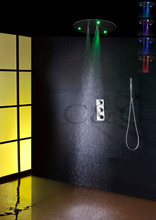 Thermostatic Bathroom LED Shower Faucet Set 20 Inch 7 Colors Round 100V~240V AC LED Bathroom Shower Head