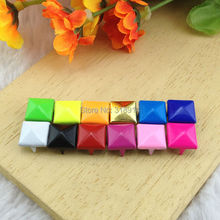 Mix-Colors 100pcs 9mm Pyramid Rivets and Studs Punk DIY Metal Square rivet  studs and spikes for Clothing Shoes Bags Accessories