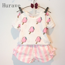 Hurave Summer Style Children Clothing Sets Baby Girls Set Kids Girl Clothes Ice Cream Hole T-shirt & Bow Short Suit