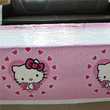 1pcs Hello Kitty Cartoon Plastic Tablecover Disposable Tableware For Girl Kids Happy Birthday Party/Featival Decoration Supplies