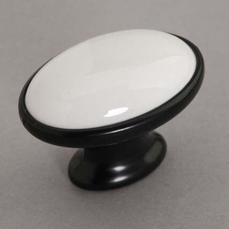 White Ceramic Cabinet Door Knob Black Dresser Knob Drawer Knob Pull  White Black Furniture Door Knobs Pull Handle Moderm Simple<br>