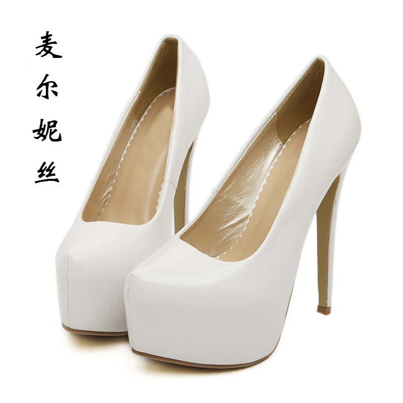 2017 Size 35-43 Fashion White Sexy 15 cm High Heels Wedding Women Pumps Ladies Platform Shoes Woman Chaussure Femme Talon<br>