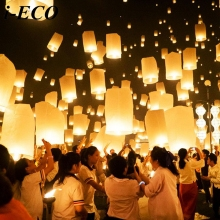 Paper Lantern!5PCS Colorful Chinese Paper Lantern Wishing Balloon Sky Lanterns Paper Lanterns For Wedding Party Decorations