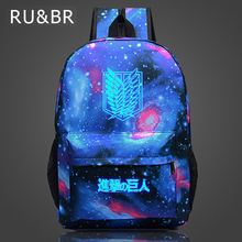 RU&BR Attack on Titan Backpack Japan Glow Anime Printing Backpack Cartoon Travel Bag Nylon Galaxia School Bag for Teenagers