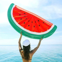 Giant Inflatable Watermelon Pool Float Circle Mattress Sunbathe Beach Mat Air Swimming Ring Beach Sea Party Toys