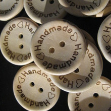 (100pcs/pack) Hand Made With Love Buttons Crafts Scrapbooking Natural Wood Color Bulk 15MM(China)