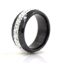 High Qulity Black And White Simple Style Comly Crystal Ceramic Rings for Women(China)