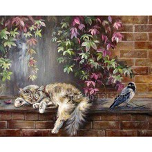 Diamond embroidery cat painting cross stitch kits picture pastes diamond mosaic animal needlework hobbies crafts F020