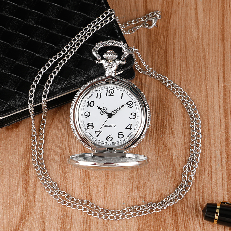 Luxury Silver Train Front Locomotive Lorry Carving Pocket Watch Simple Truck Car Pattern Slim Necklace Chain Unisex Quartz Clock 2018 (1)