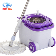 KOYIDA Rotating Spin Mop Bucket Stainless Steel With Microfiber Mop Pads Spinning Easy Magic Mops Set Household Cleaning Tools(China)