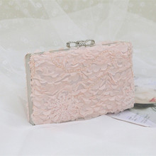 Pink lace women evening bags fashion bags handmade bride diamonds clutch bag wedding purse party bags