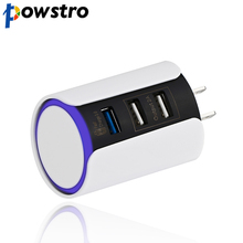Powstro Qualcomm 3.0 Quick Charge USB Wall Charger US Plug Travel Adapter with 3 USB Ports LED Touch Light For iPhone Samsung